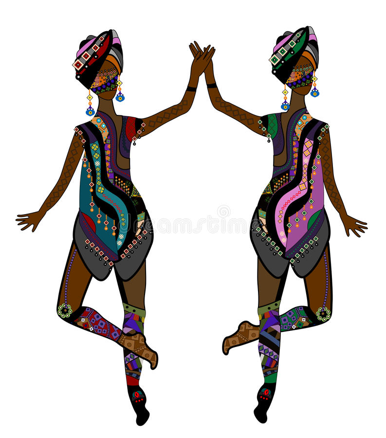 Dance. Women in ethnic style dancing beautiful dance on a white background vector illustration