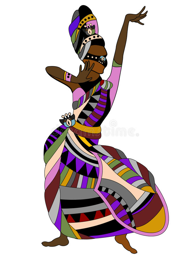 Dance. Woman in a dress dances religious dance in the ethnic style vector illustration