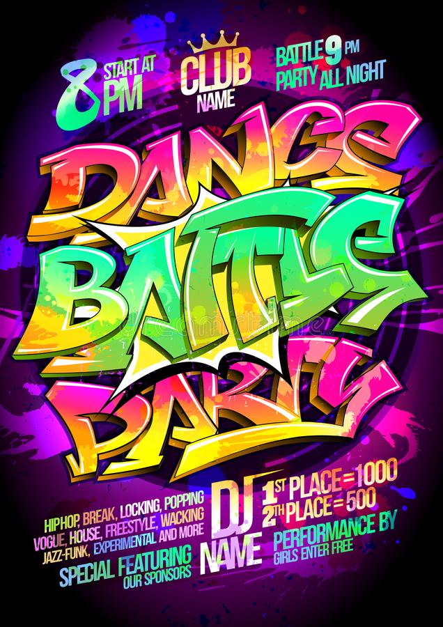 Dance battle party poster concept royalty free illustration