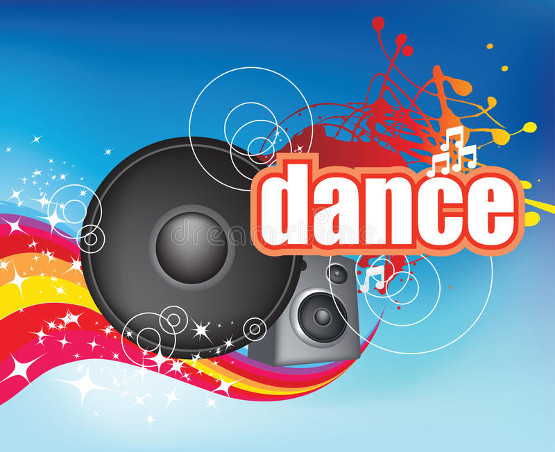 Download Dance on blue flyer stock vector. Illustration of colored - 9861921
