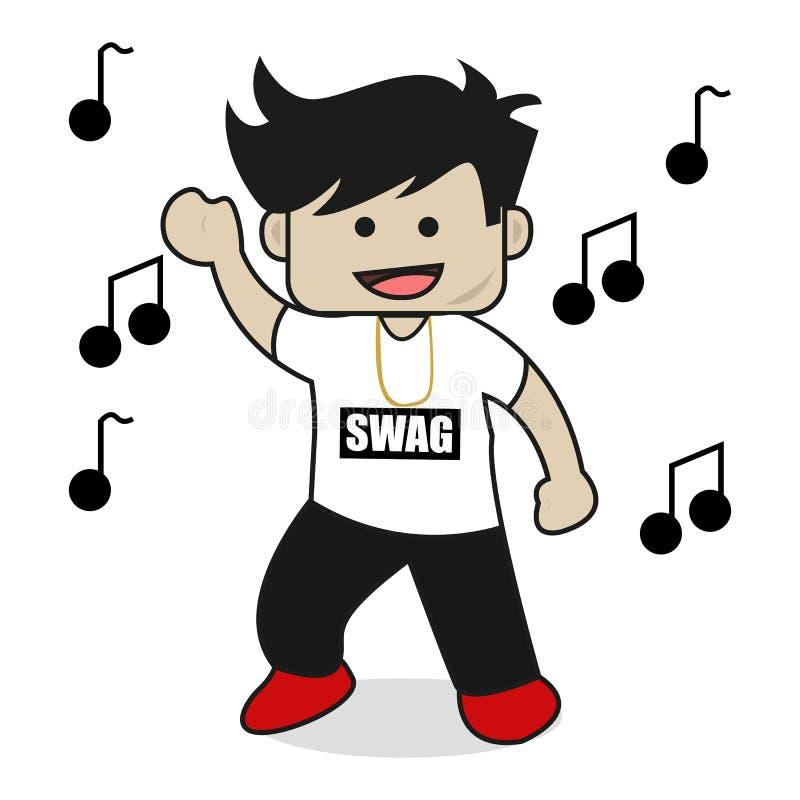 Dance Male Or Boy Swag Flat Cartoon