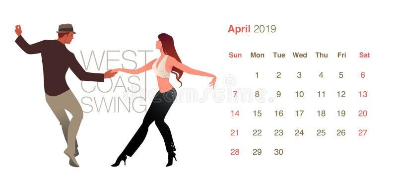 2019 Dance Caa2019 Dance Calendar. April. Young couple dancing West Coast Swinglendar. April. Young couple dancing West Coast Swin vector illustration
