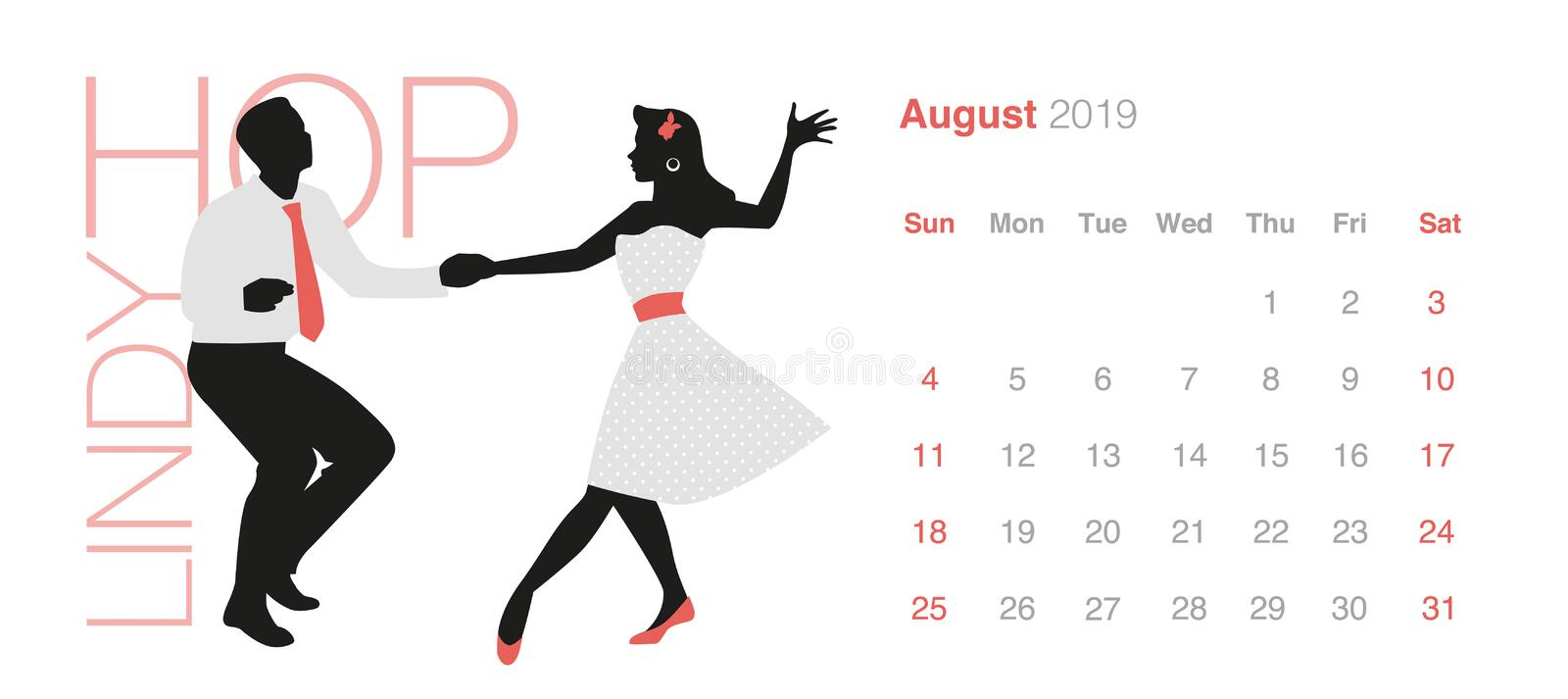 2019 Dance Calendar. August. Young couple wearing retro clothes dancing Lindy Hop stock illustration