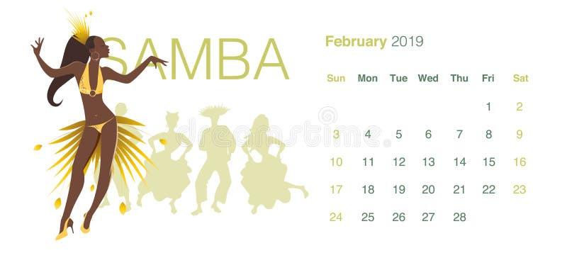 2019 Dance Calendar. February. Beautiful girl dancing samba royalty free illustration