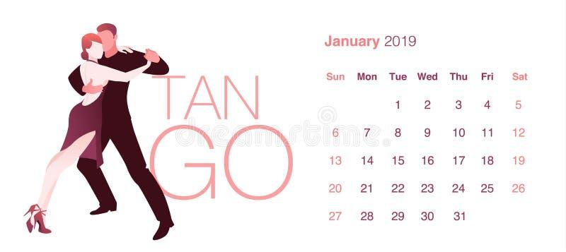 2019 Dance Calendar. January. Elegant couple dancing tango vector illustration