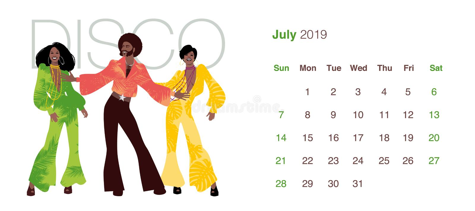 2019 Dance Calendar. July. Man and two women wearing clothes in the style of the 70s dancing Disco music vector illustration