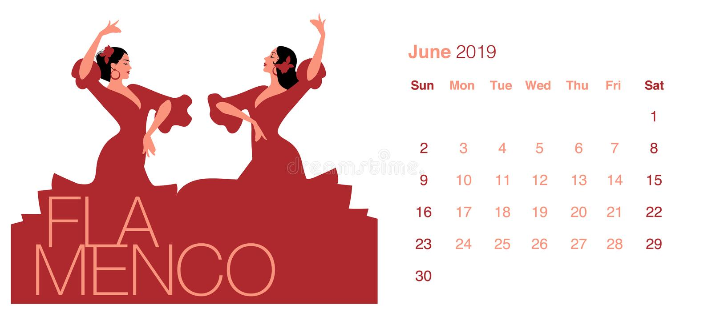 2019 Dance Calendar. June. Two beautiful Spanish women vector illustration