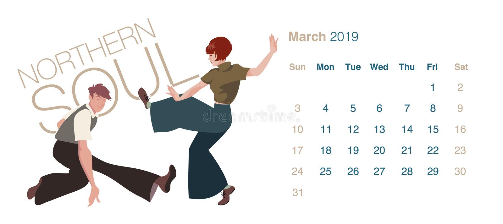 2019 Dance Calendar. March. Young couple dancing Northern Soul royalty free illustration