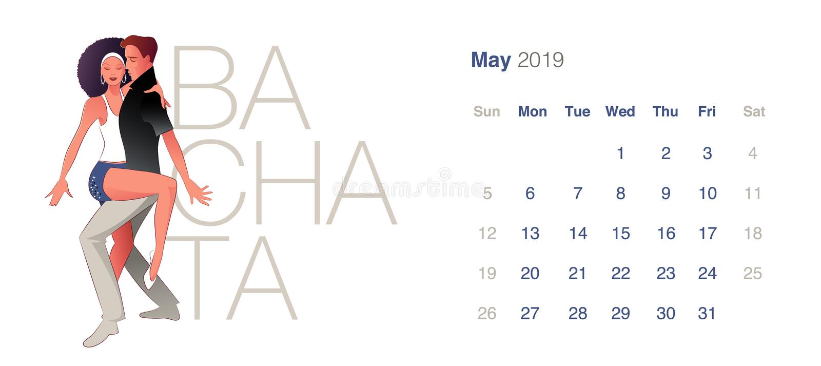 2019 Dance Calendar. May. Young couple dancing sensual Bachata. On white background stock illustration
