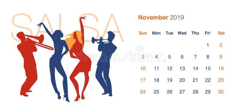 2019 Dance Calendar. November. Silhouettes of two girls dancing salsa vector illustration