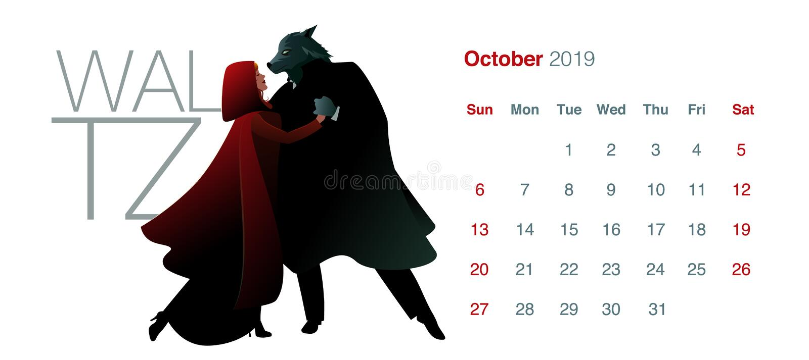 2019 Dance Calendar. October. Little red riding hood and the wolf dancing waltz stock illustration