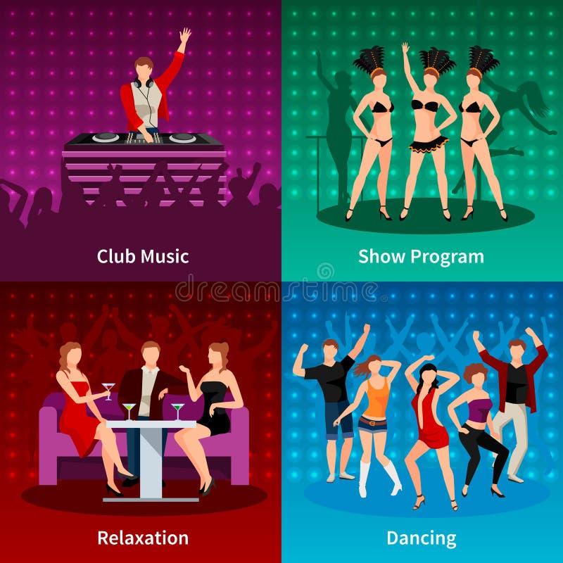 Dance Club 4 Flat Icons Square royalty free illustration