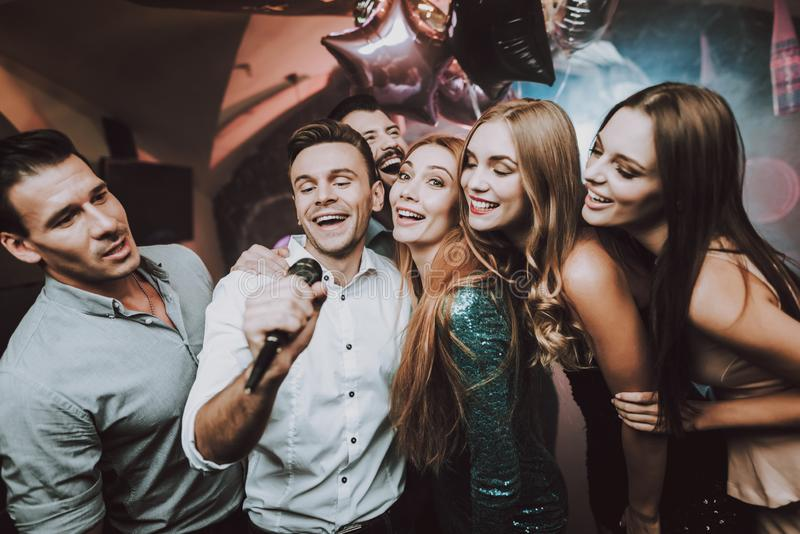 Dance Club. Young People. Singing Friends. Bar. stock images