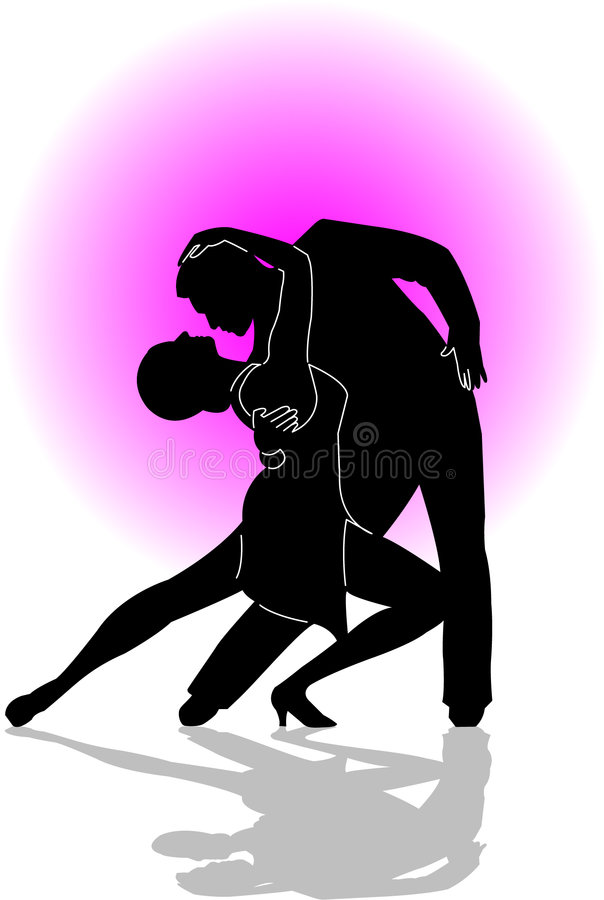 Dance couple/ai. Silhouette illustration of couple dancing