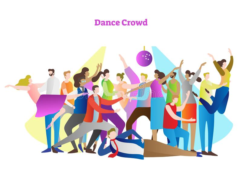 Dance crowd vector illustration. Adult friends and couples enjoying life, club, celebration and active entertainment. stock illustration