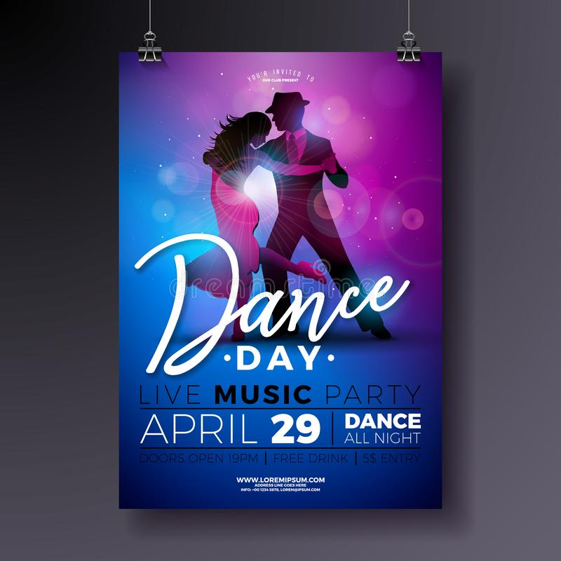 Dance Day Party Flyer design with couple dancing tango on shiny colorful background. Vector celebration poster. Illustration template for Ballroom Night stock illustration