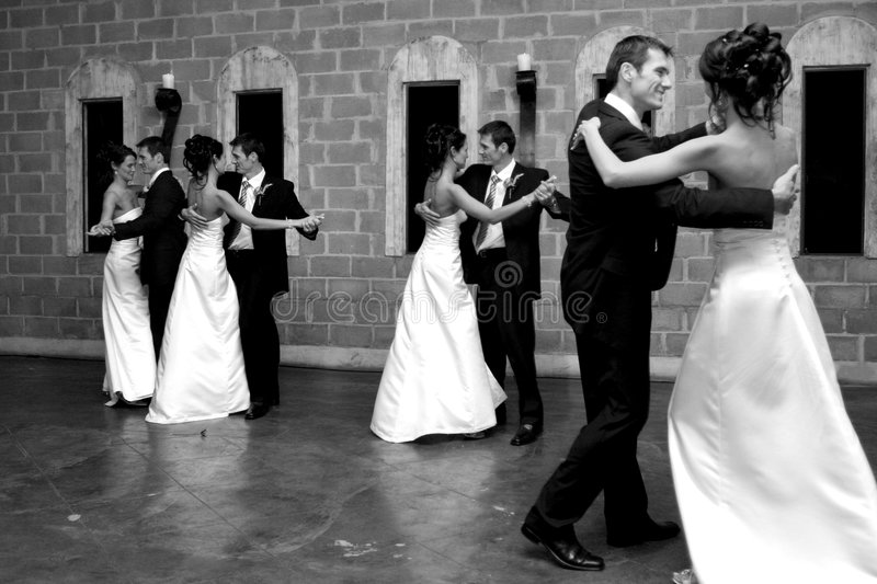 Dance Effect. A bride and groom opening the dance floor