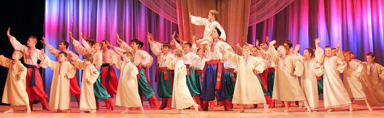 Dance Ensemble. Of the Ukrainian national dance. Kiev. Palace of Children and Youth. 2015 royalty free stock image