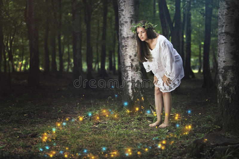Dance of the forest spirits. Beautiful girl staring at the dance of the forest spirits . Fantasy and fairy tale royalty free stock image