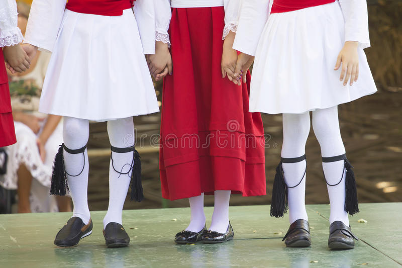 Dance group. Holding hands, in open air Village Museum, in Bucharest, Romania, Europe stock images
