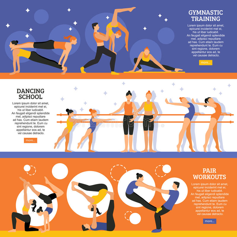 Dance And Gymnastic Training Banners Set. Horizontal flat banners set with dance school gymnastic training and exercises of acrobatic couple vector illustration vector illustration