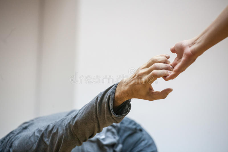 Dance hand. Two hand dance.The hands of the dancers are drawn to each other.dancers' hands support each other stock photos