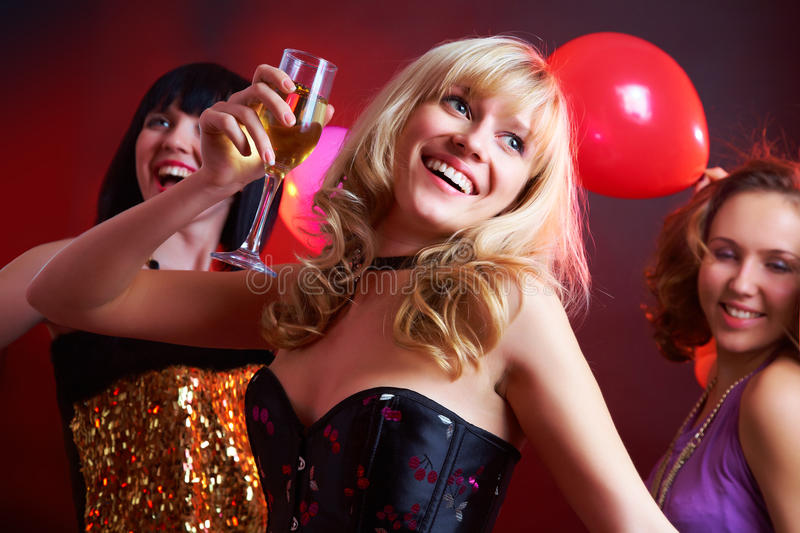 Download Dance happy young girls stock image. Image of champagne - 26615519