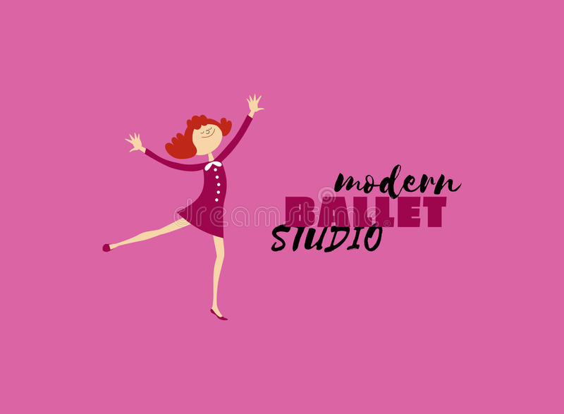 Dance icon concept. Modern Ballet studio logo design template. Cartoon cute character dancing girl. Fitness class banner background with symbol abstract royalty free illustration