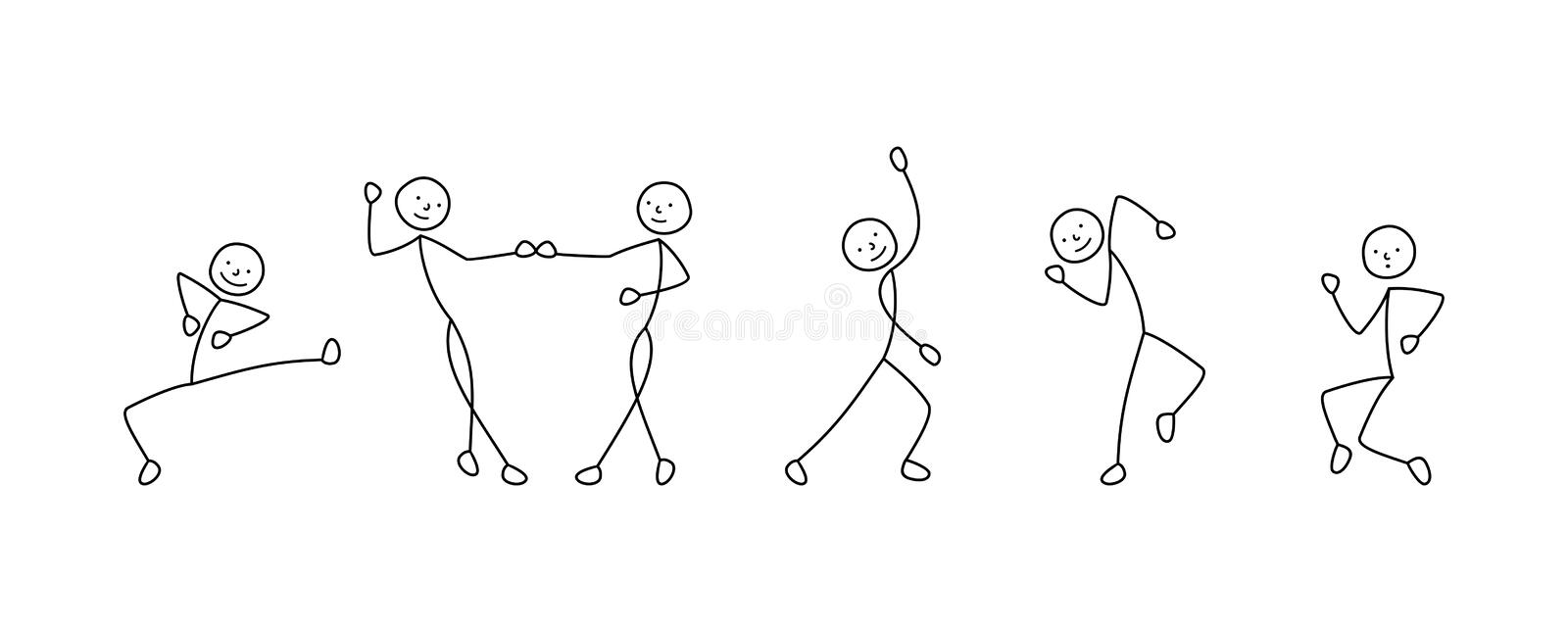 Dance illustration, stick figure man. Dancing, isolated drawings sketch happy royalty free illustration
