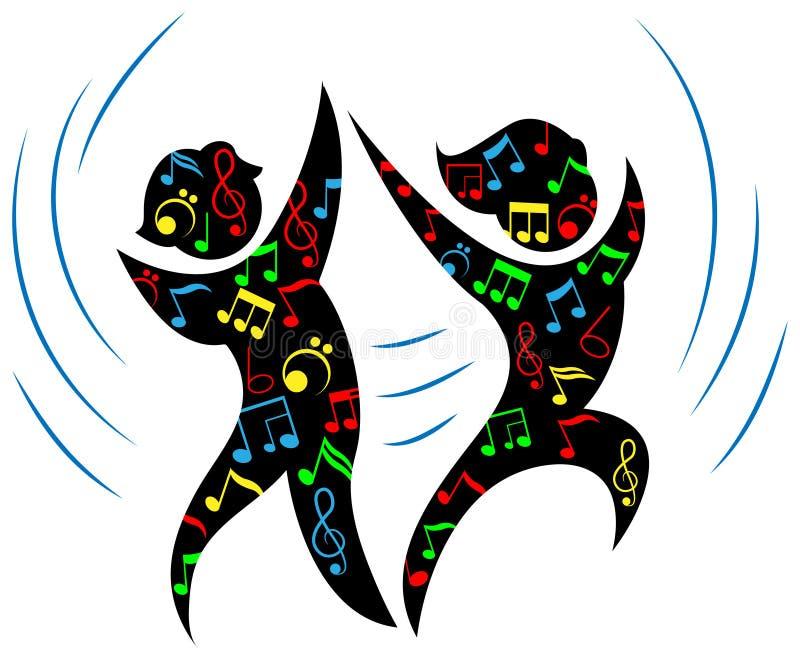 Dance with music. Isolated line art cartoon image