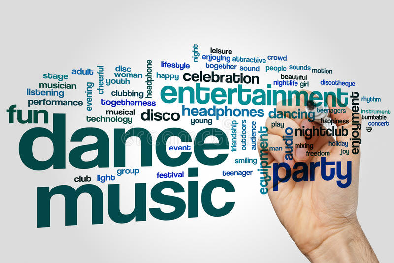 Dance music word cloud stock image