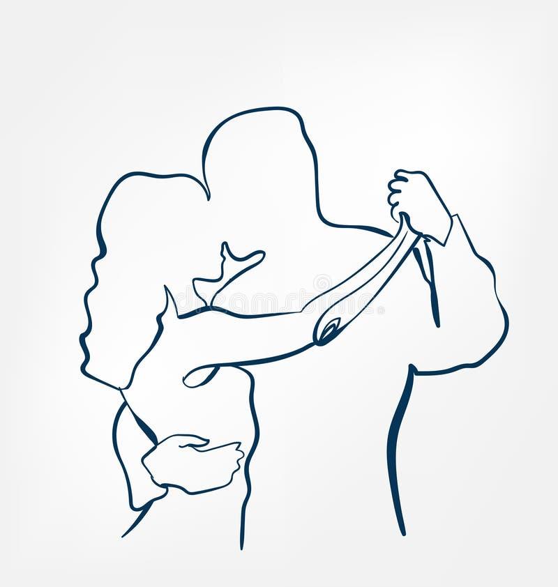 Dance pair sihouette sketch line  design stock illustration