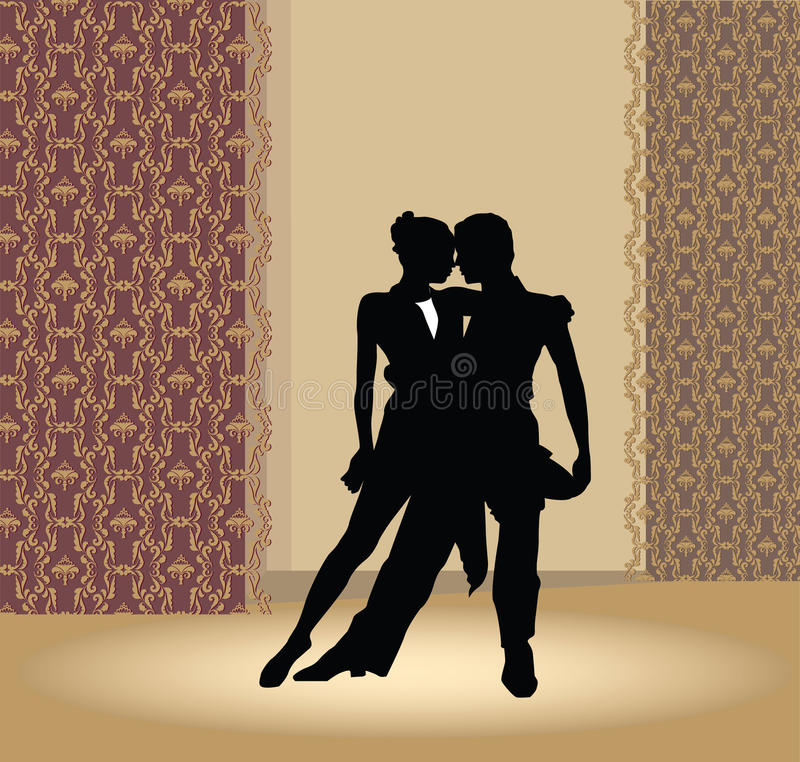 Dance pair in tango passion royalty free illustration