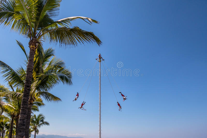 Dance of the Papantla Flyers Voladores de Papantla - Puerto Vallarta, Jalisco, Mexico. PUERTO VALLARTA, MEXICO - Nov 1, 2016: Dance of the Papantla Flyers royalty free stock images
