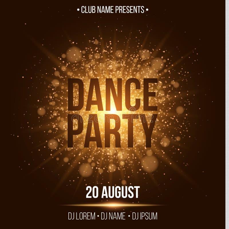 Dance party Cartão luxuoso do convite Flash dourado com partido da noite da poeira de ouro Dê entrada com seu nome do DJ e do clu ilustração royalty free