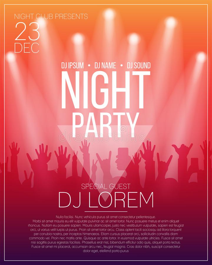 Dance party flyer or poster design template. vector illustration