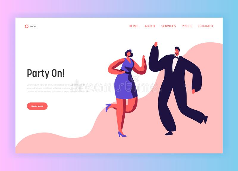 Dance Party Happy People Couple Landing Page royalty free illustration