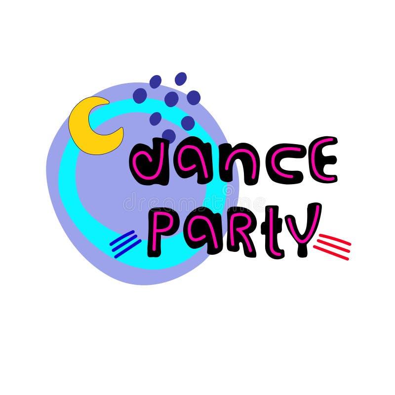 Dance party Inseto do evento da dan?a, bandeira, convite Molde do vetor Mão criativa que rotula com lua ilustração royalty free