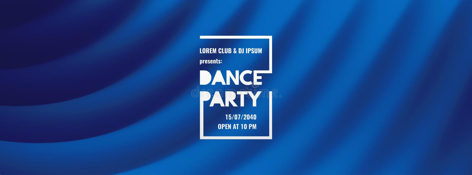 Dance party invitation with date and time details. Theatre blue curtain. Music event flyer or banner. 3D wavy background with royalty free illustration