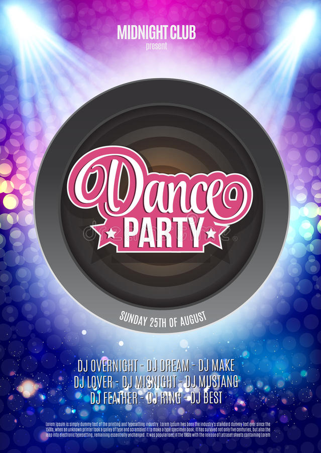 Dance Party Night Poster Background Template - Vector ...