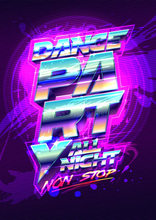 Dance party poster design, 80s years style vector illustration