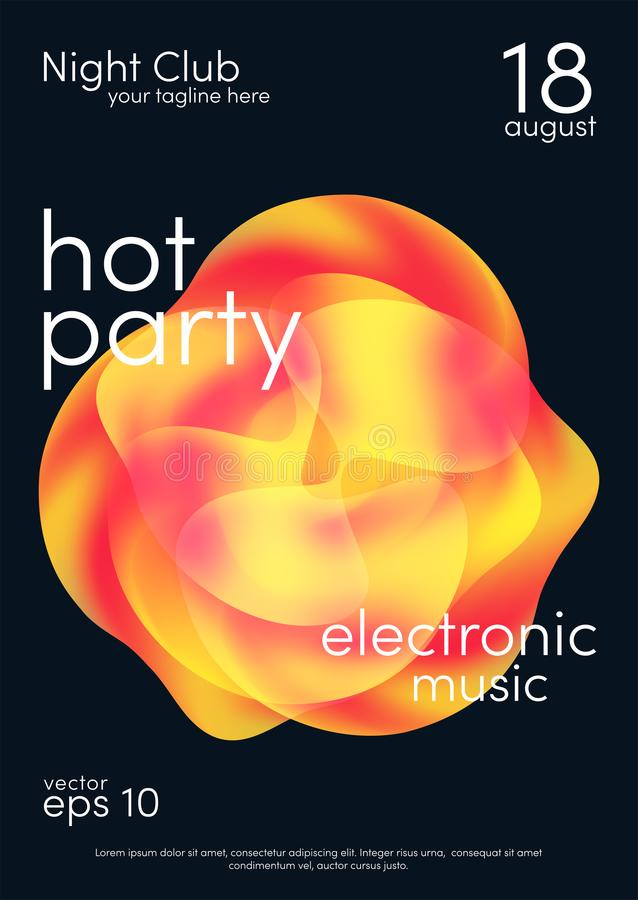 Dance party poster. Music poster background template with abstract shapes. Trendy flyer design royalty free illustration