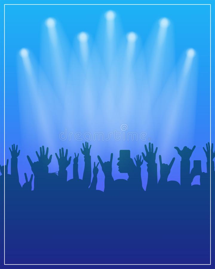 Dance party poster template. Concert, dj party or festival flyer design template with people crowd on background vector illustration