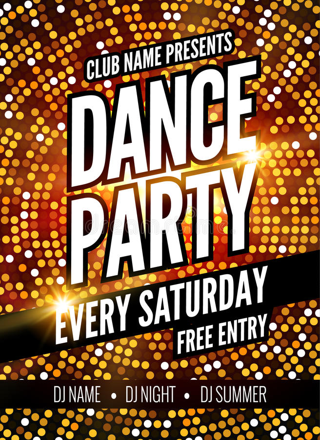 Dance Party Poster Template. Night Dance Party flyer. Club party design template on dark colorful background. Club free vector illustration
