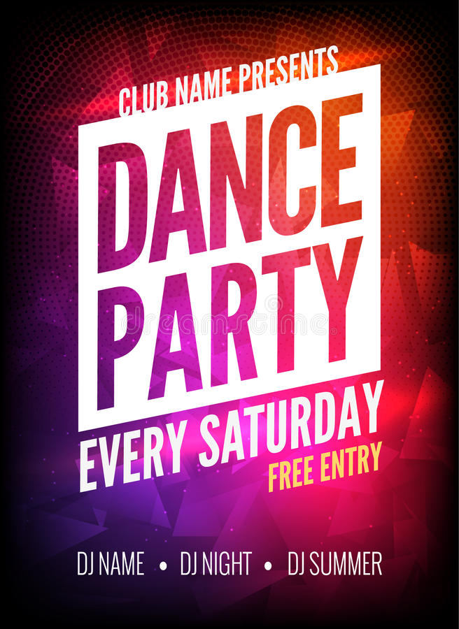Dance Party Poster Template. Night Dance Party flyer. Club party design template on dark colorful background. Club free royalty free illustration