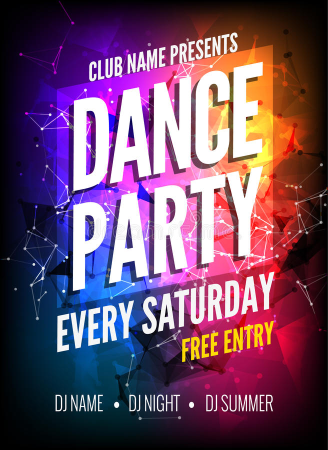 Dance Party Poster Template. Night Dance Party flyer. Club party design template on dark colorful background. Club free stock illustration
