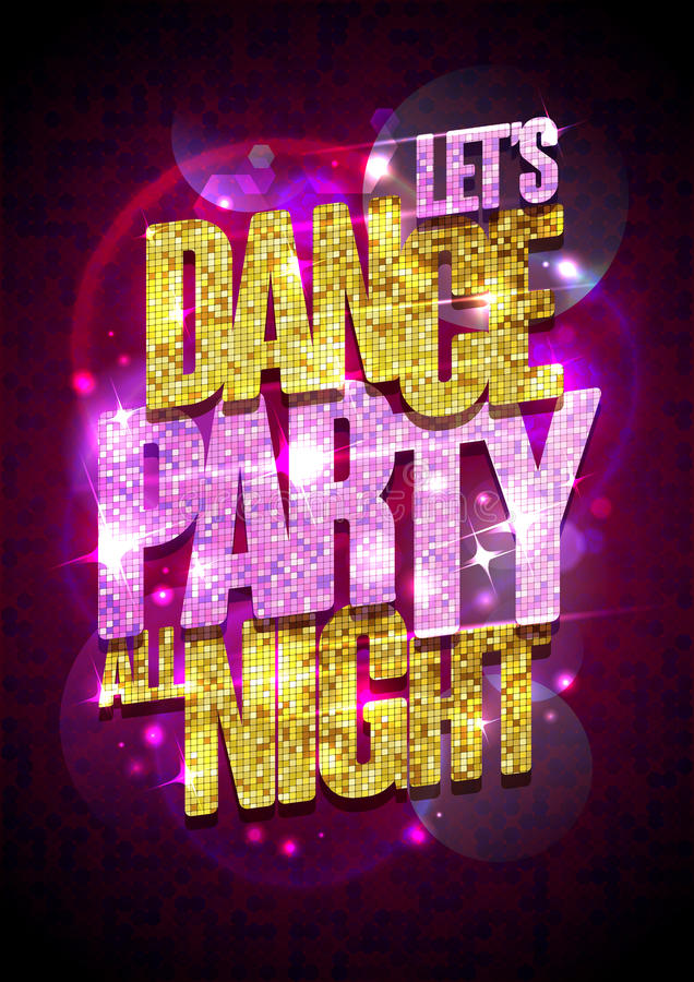 Dance party vector poster with gold glare headline. vector illustration