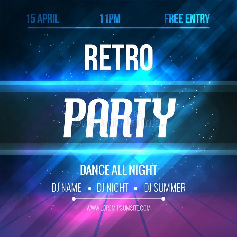 Dance Retro Party Poster Template. Night Retro Dance Party flyer. Club party design template on dark colorful vector illustration