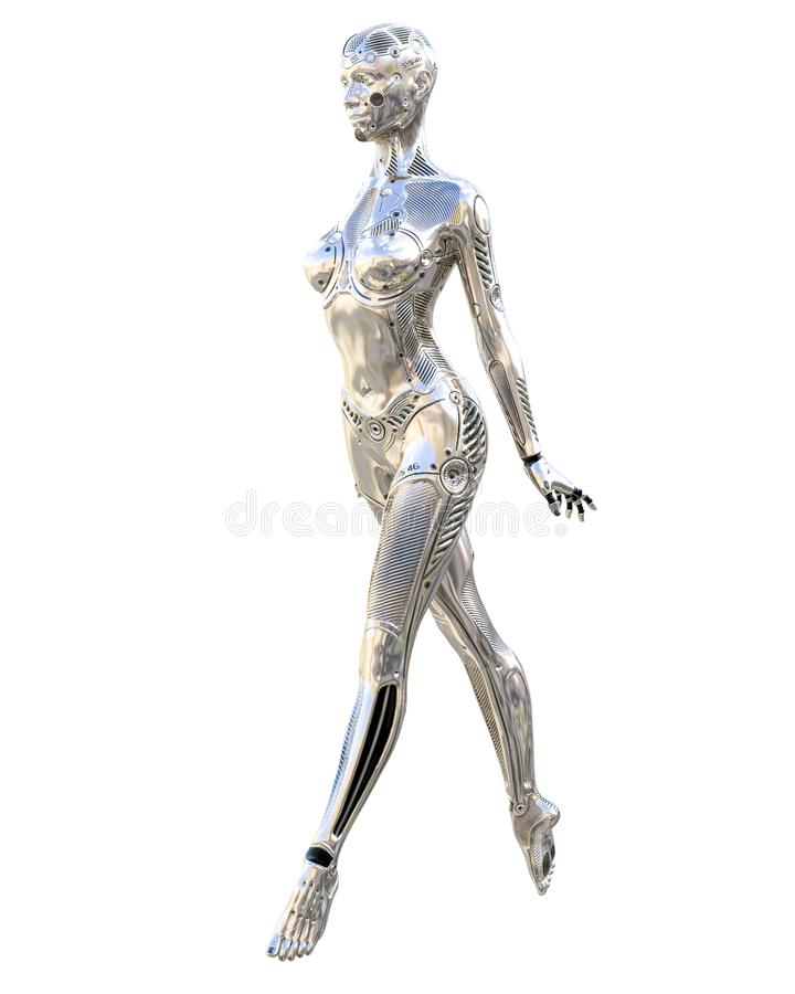 Dance robot woman. Metal shiny silver droid. Artificial Intelligence. Conceptual fashion art. Realistic 3D render illustration. Studio, isolate, high key vector illustration