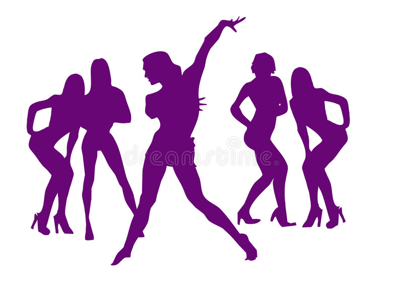 Dance of girls for New Years. Silhouette of girls vector illustration